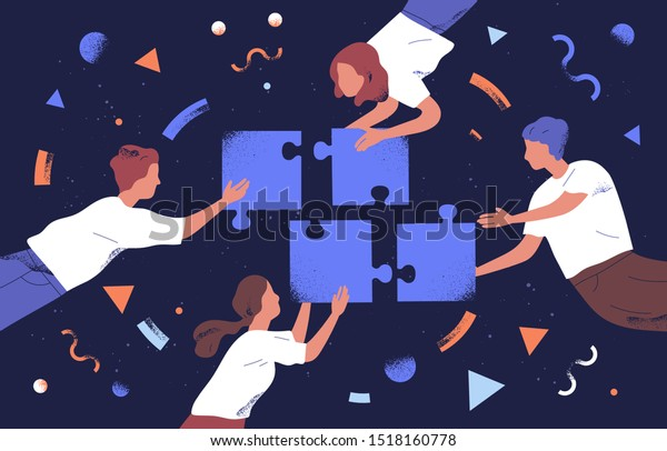 Teamwork and team building flat vector illustration. Coworkers assembling jigsaw puzzle cartoon characters. Coworking and business partnership concept. Businessmen and businesswomen cooperation.