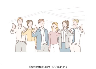 Teamwork, team, cooperation, coworking, cooperation concept. Clerks with leaders showing thumbs up looking at camera. Team of competent profisional offer the best service, work, human resources.