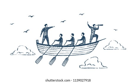 TeamWork. A team of five people swims across the sky in a boat. Vector business concept sketch, hand drawn illustration.