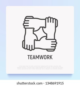 Teamwork thin line icon with gradient: four hands holding together for wrist. Modern vector illustration of partnership symbol.