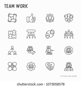 Teamwork thin line icons set: group of people, mutual assistance, meeting, handshake, tug-of-war, cooperation, puzzle, team spirit, cooperation. Modern vector illustration.