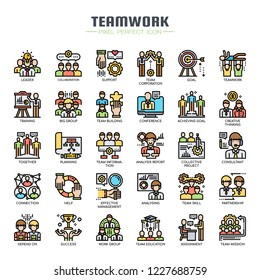 Teamwork , Thin Line and Pixel Perfect Icons