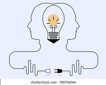 Teamwork for thinking creative an ideas concept, business idea, innovation and solution. Vector eps 10.