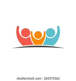 Teamwork Three Friends logo image. Concept of Group of People, happy team, victory