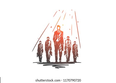 Teamwork, together, leadership, recruiting, human resources concept. Hand drawn team of businessmen working together concept sketch. Isolated vector illustration.