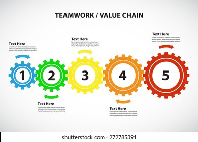 Teamwork / Value Chain - 5 Bright Cogwheels with Arrows, Vector Infographic