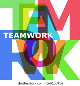 Teamwork - vector abstract color text