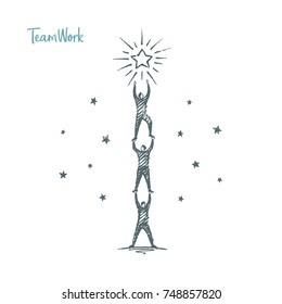 Teamwork. Vector business concept hand drawn sketch.