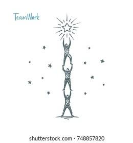 Teamwork. Vector business concept hand drawn sketch.