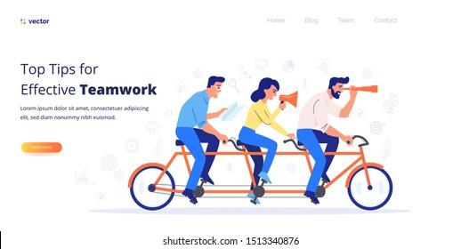 Teamwork-Vektorkonzept. Ein Team von drei Geschäftsleuten, die Fahrrad fahren. Die Partner arbeiten zusammen, um gemeinsame Ziele zu erreichen.