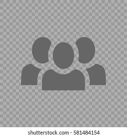Teamwork vector icon eps 10. Three businessman silhouette. Team of people on transparent background.