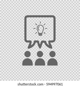 Teamwork vector icon eps 10. Business idea discussion on transparent background.