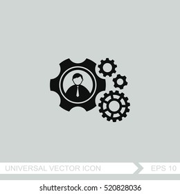 Teamwork vector icon. Gear and businessman sign.