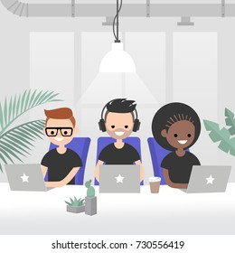 Teamwork, vector illustration. A group of young adults working in the modern open space office. Creative industry startup. Flat 2.0 vector, clip art.