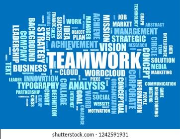 Teamwork word cloud of business concept.
