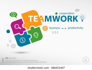 Teamwork word cloud concept on colorful jigsaw puzzle. Infographic business for graphic or web design layout