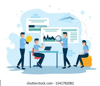 teamwork workers in the workplace vector illustration design