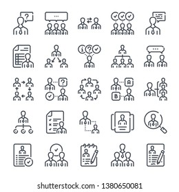 Teamwork and workflow related line icon set. Business people and management linear icons. Meeting and appointment outline vector sign collection.
