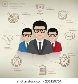 Teamwork,info graphic design on old paper background,clean vector