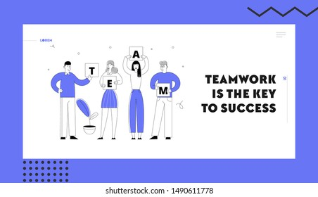 Teamworking Group Creative Project Construction Process Website Landing Page. Business People Holding Separated Word Team. Businessmen, Businesswomen Web Page Banner. Cartoon Flat Vector Illustration