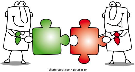 Teamwork-puzzles. people work together