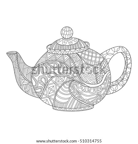 Teapot Coloring Page Adults Zentangle Style Stock Vector Royalty