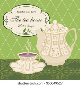 Teapot and Cup with designs on patterned tablecloths.