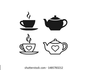 Teapot, cup icon. Vector. Tea-set in simple flat design, outline. Teacup with steam and teapot isolated on white background. Illustration for graphic, web, logo, app, UI. Clay tableware.