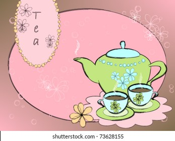 Teapot and cup of tea on a flower background