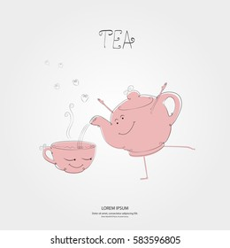 Teapot with a cup tea. Simple style with line art elements. Cartoon funny characters. Great design for a healthy lifestyle and various promotional projects. Vector illustration - Shutterstock ID 583596805