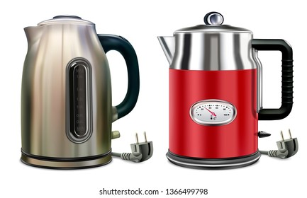 Teapot. Electric kettles set of two appliances for home use in the kitchen. For boiling water for tea or coffee. Isolated on white background vector illustration