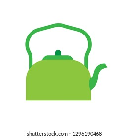 Teapot green side view vector icon. Traditional symbol tea art. Handle decorative flat kitchenware kettle pot