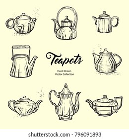 Teapot hand drawn ink vector illustration set old style. Isolated line kettle, illustration for logo, cafe menu, banner, flayer retro hand drawn style. Isolated vector logo for coffee shop, restaurant