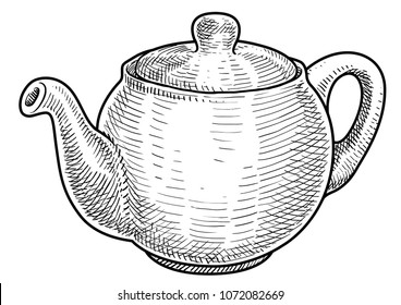 Teapot illustration, drawing, engraving, ink, line art, vector