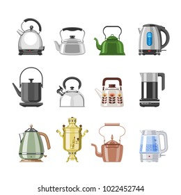 Teapot and kettle vector teakettle or samovar to drink tea on teatime and boiled coffee beverage in electric boiler in kitchen illustration kitchenware set isolated on white background
