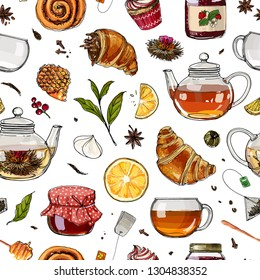 Teapot and a mug painted lines on a white background. Vector sketch of dishes. Glass teapot, tea bag, green tea