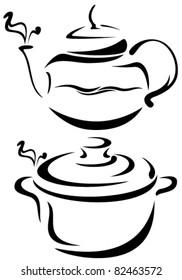 teapot and saucepan vector