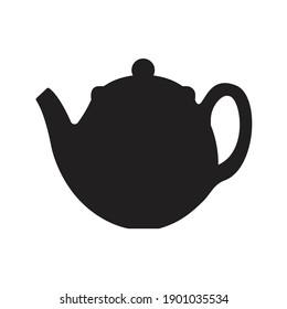 Teapot silhouette vector tea icon symbol