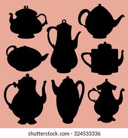 Teapot Silhouettes Vector Set