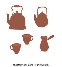 Teapot, tea coffee, cup and candy clip art cartoon Scandinavian style. Tea time vector hand drawn concept illustration. Coffee time. Cafe poster, tea logo