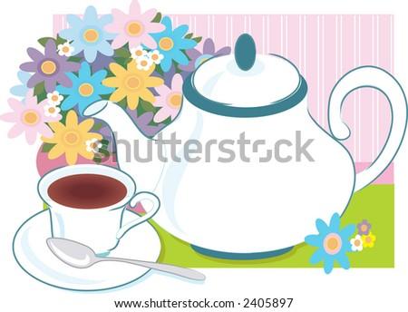 Teapot Teacup Vase Flowers Stock Vector Royalty Free 2405897