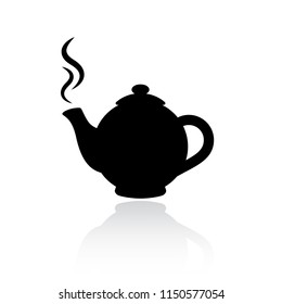 Teapot vector silhouette icon illustration isolated on white background