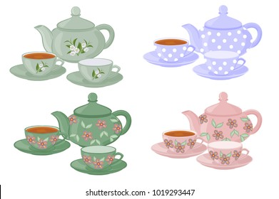 Teapots and cups with different patterns. Vector set of isolated teapots, cups of tea and empty cups.