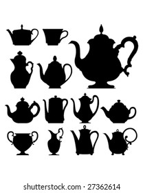 Teapots and cups - vector silhouette set