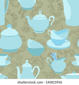 Teapots seamless pattern