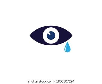 Tear, cry eye icon. Vector illustration, flat.