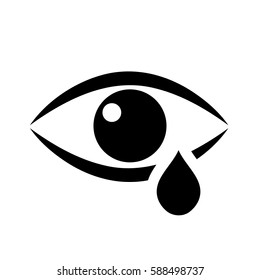 Tear cry eye vector icon on white background