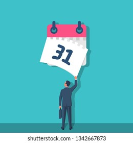 Tear off calendar sheet. End of month. Off date. Businessman hand closes the last sheet of the calendar. Deadline concept. Template page. Vector illustration flat design. Isolated on background.
