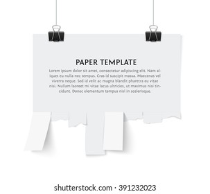 Tear off stripes of paper sheet. Street advertisement template with copy space template isolated on white background. Tear off paper notice on the wall.
