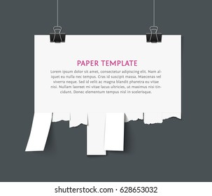 Tear off stripes of paper sheet. Street advertisement template with copy space template. Tear off paper notice on the wall. Take away pia